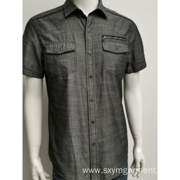 Men's cotton slub fabric casual shirt